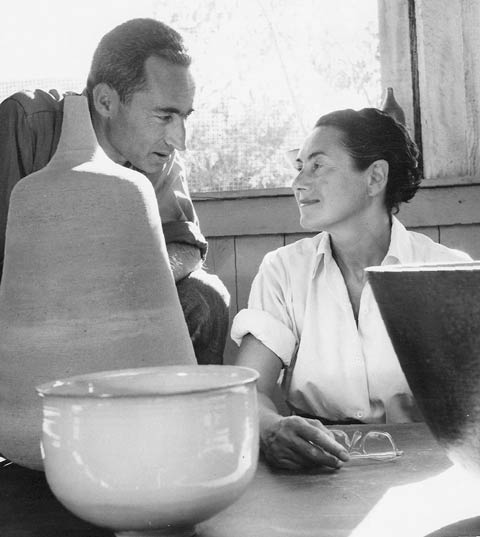 Gertrud Natzler with her husband, Otto, at Brandeis Camp Institute between 1956 and 1960.