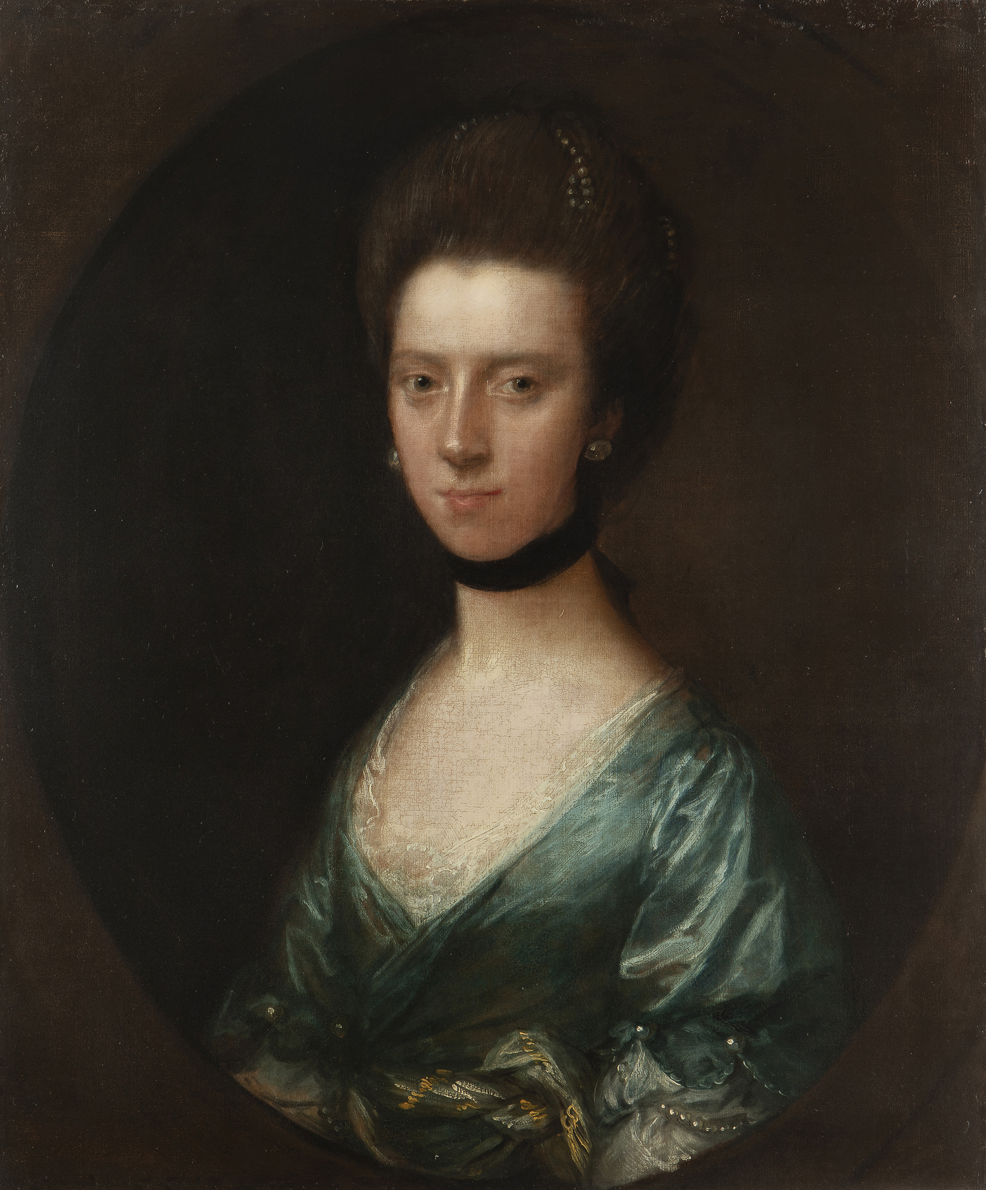 Thomas Gainsborough (1727-1788 British) Portrait of Mrs. Isaac Elton, bust-length, Oil on canvas laid to canvas, in a painted oval, $50,000-70,000