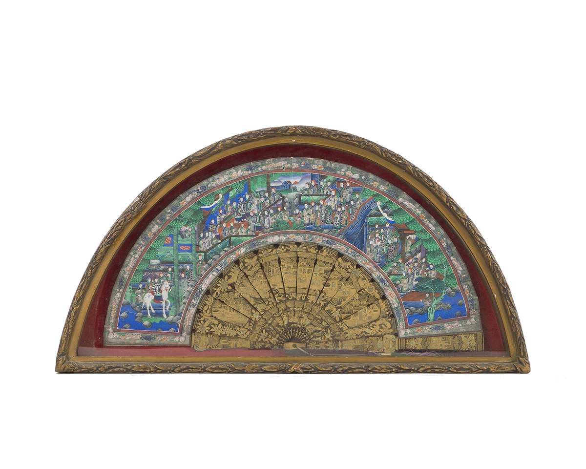 A framed Chinese painted folding fan