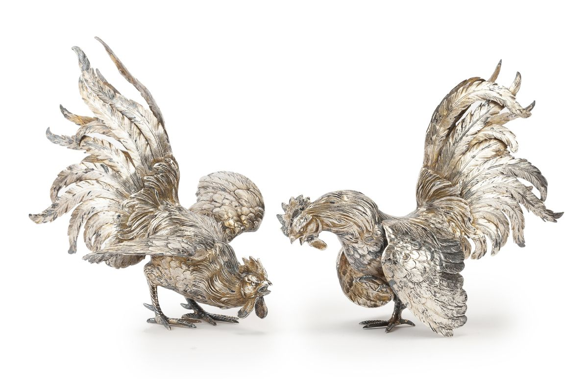 A pair of German .800 silver fighting cocks