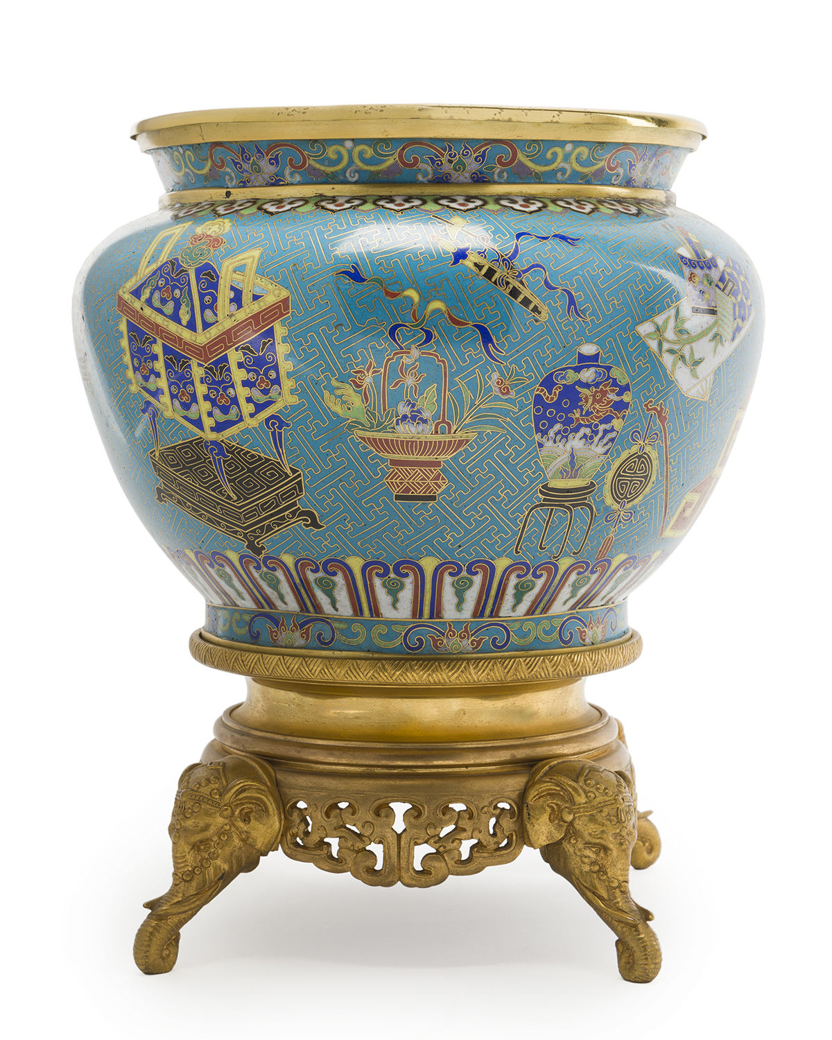 A Chinese cloisonne and gilt bronze jardiniere