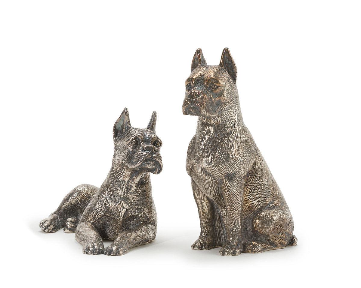 A pair of Israeli sterling silver boxer dogs