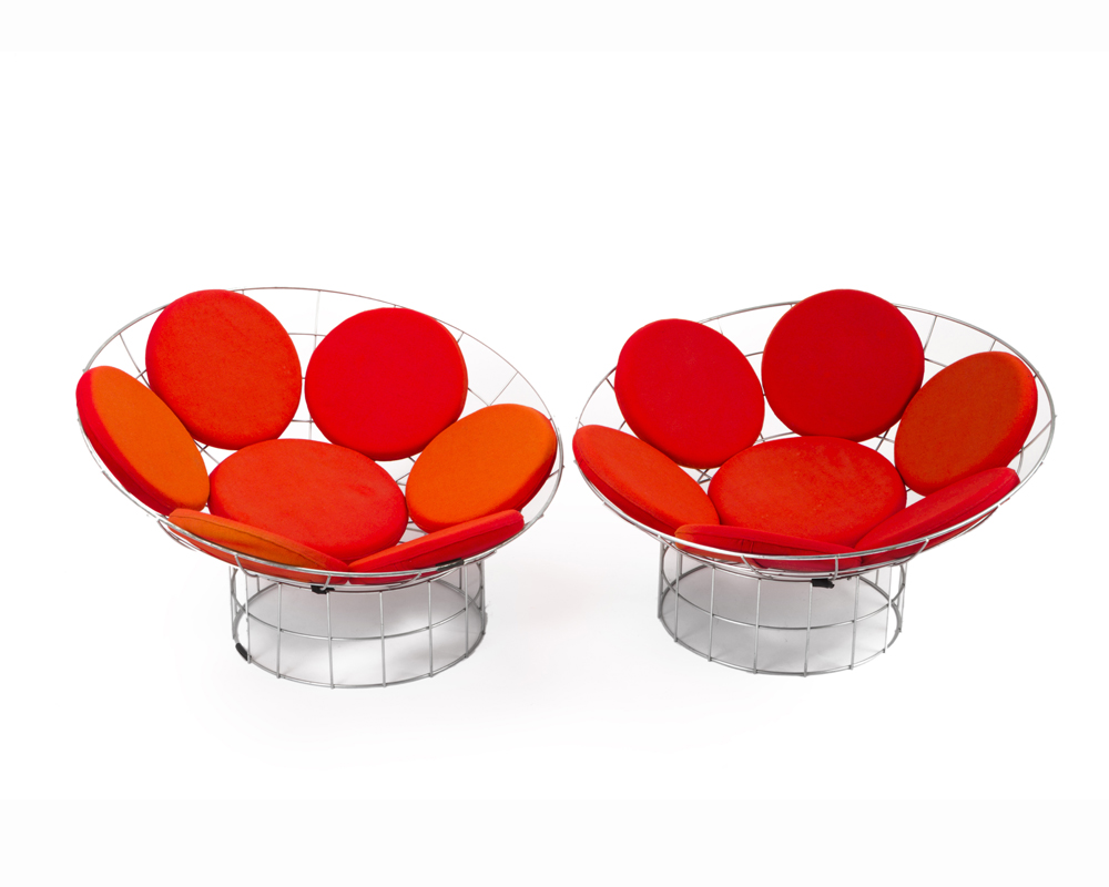 """A pair Verner Panton for Plus-Linje """"Peacock"""" chairs"""