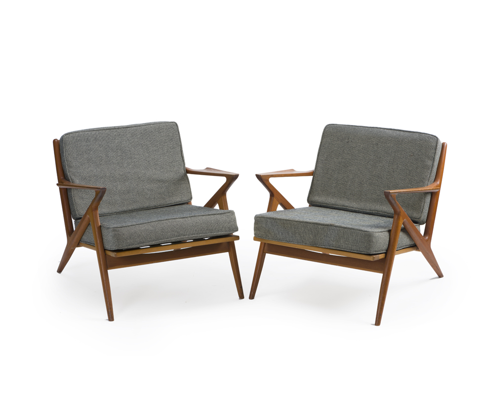 """A pair of Poul Jensen for Selig """"Z"""" lounge chairs"""