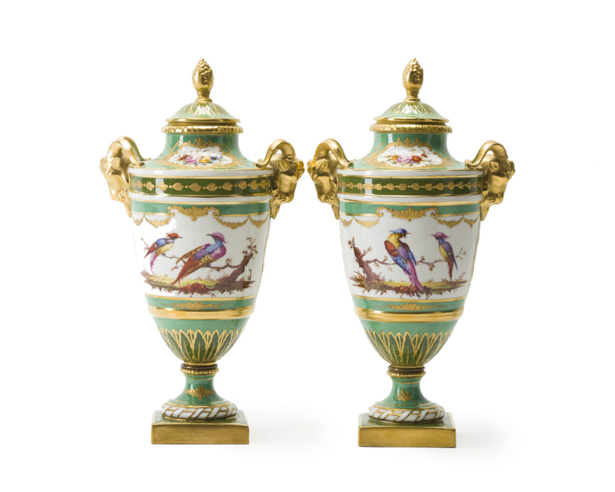 A Pair of Paris Porcelain Lidded Urns