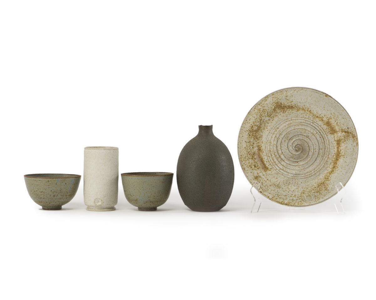 A set of five modern glazed objects