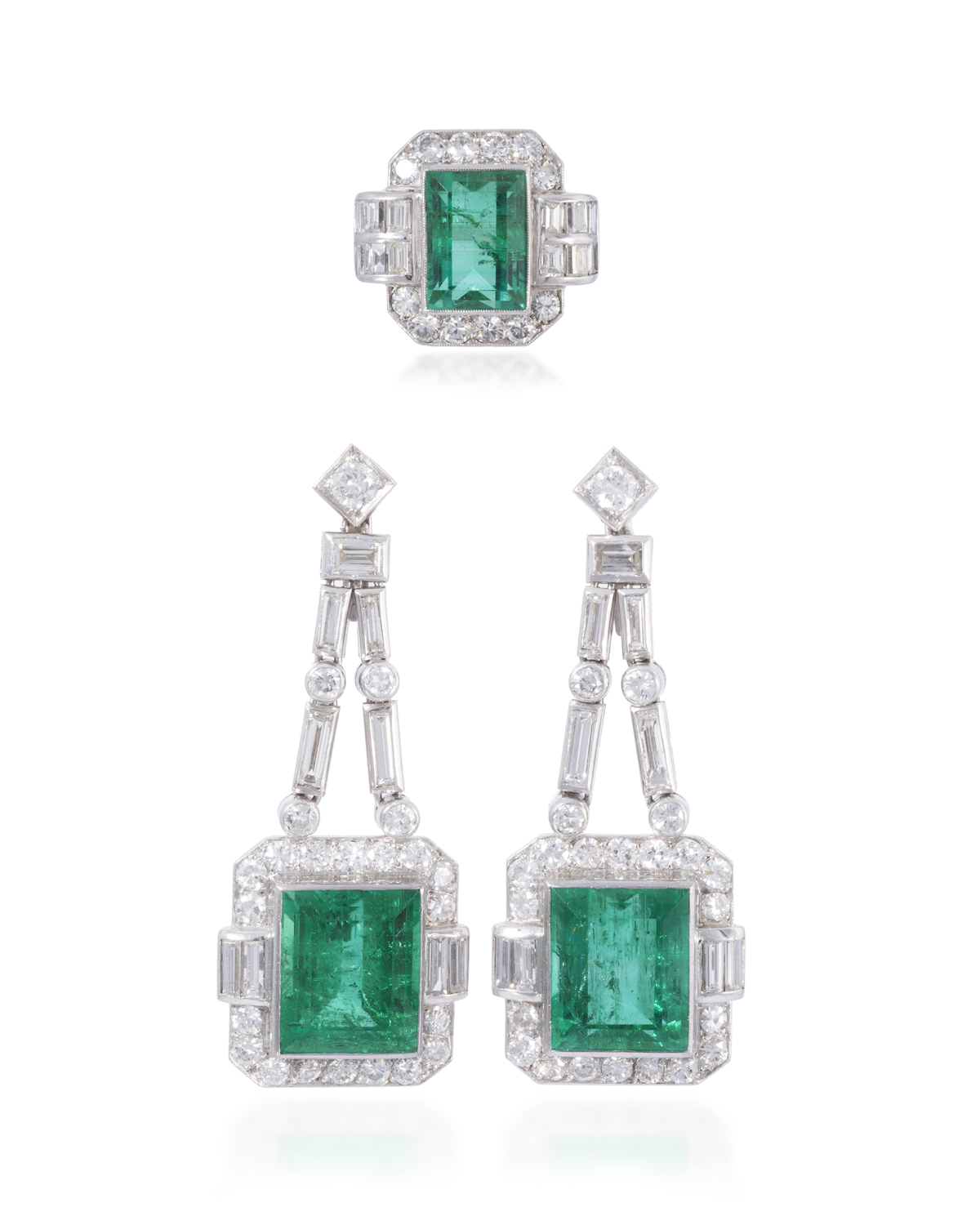 A Suite Of Colombian Emerald And Diamond Jewelry
