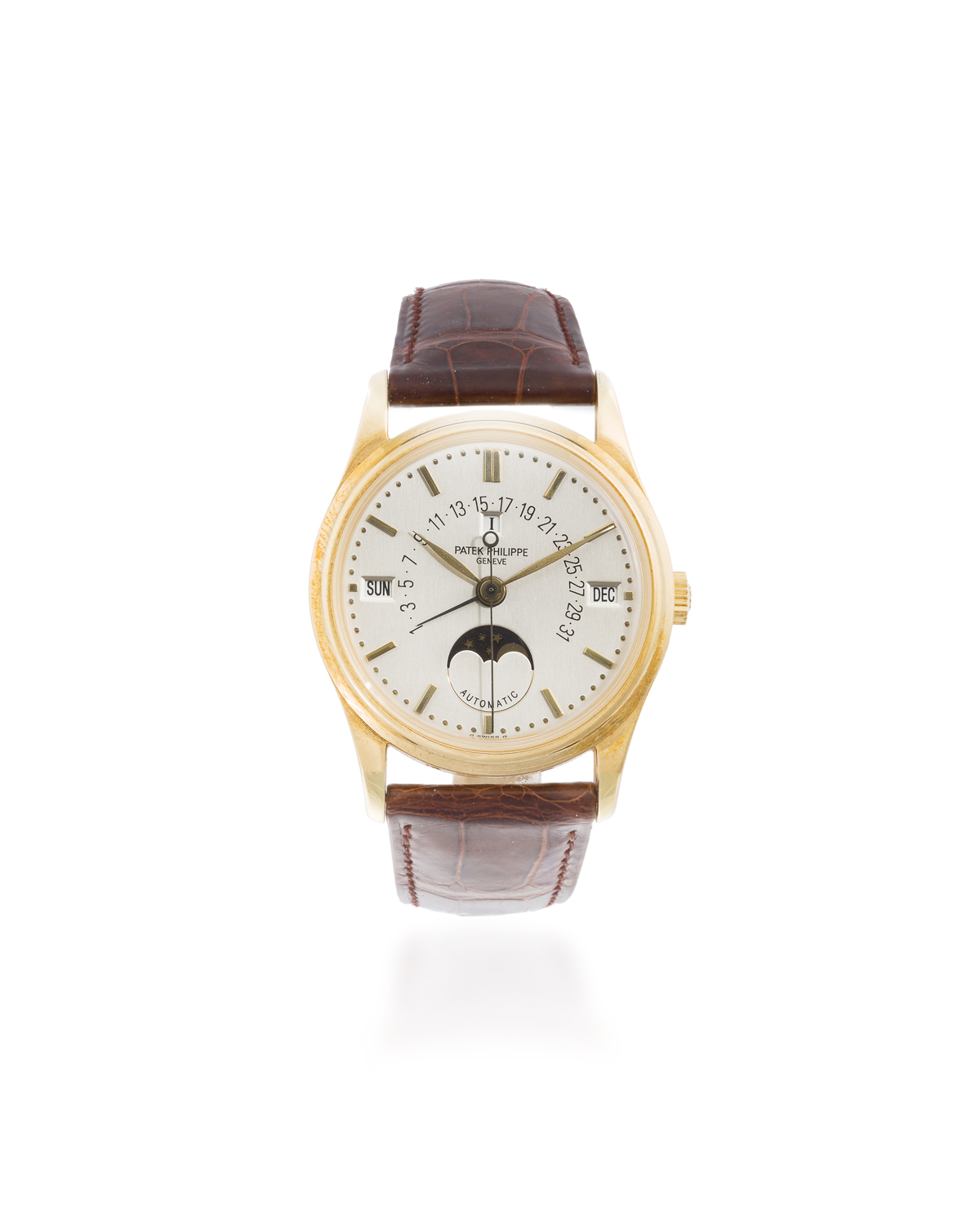 A Patek Philippe 18k Yellow Gold Perpetual Calendar Wristwatch