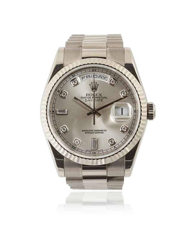 "A Rolex ""President"" 18k White Gold Wristwatch"