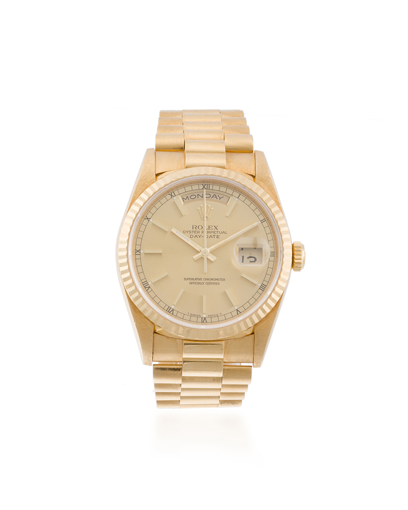"A Rolex ""President"" 18k Yellow Gold Wristwatch"