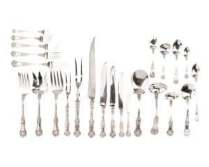 "Lot# 1009, A Gorham ""King George"" sterling silver flatware service, est: $3,000-4,000"