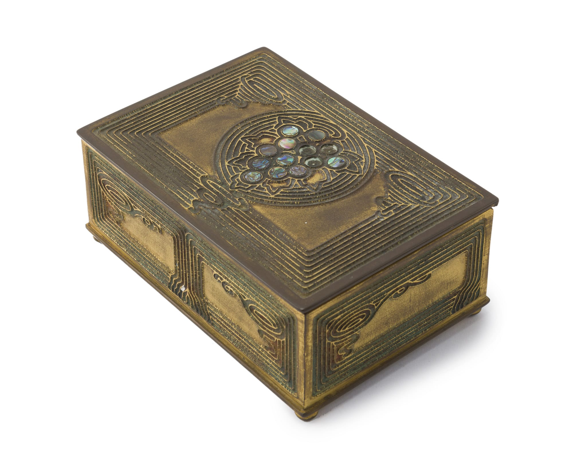 "A Tiffany Studios ""Abalone"" cigar box, #1172"