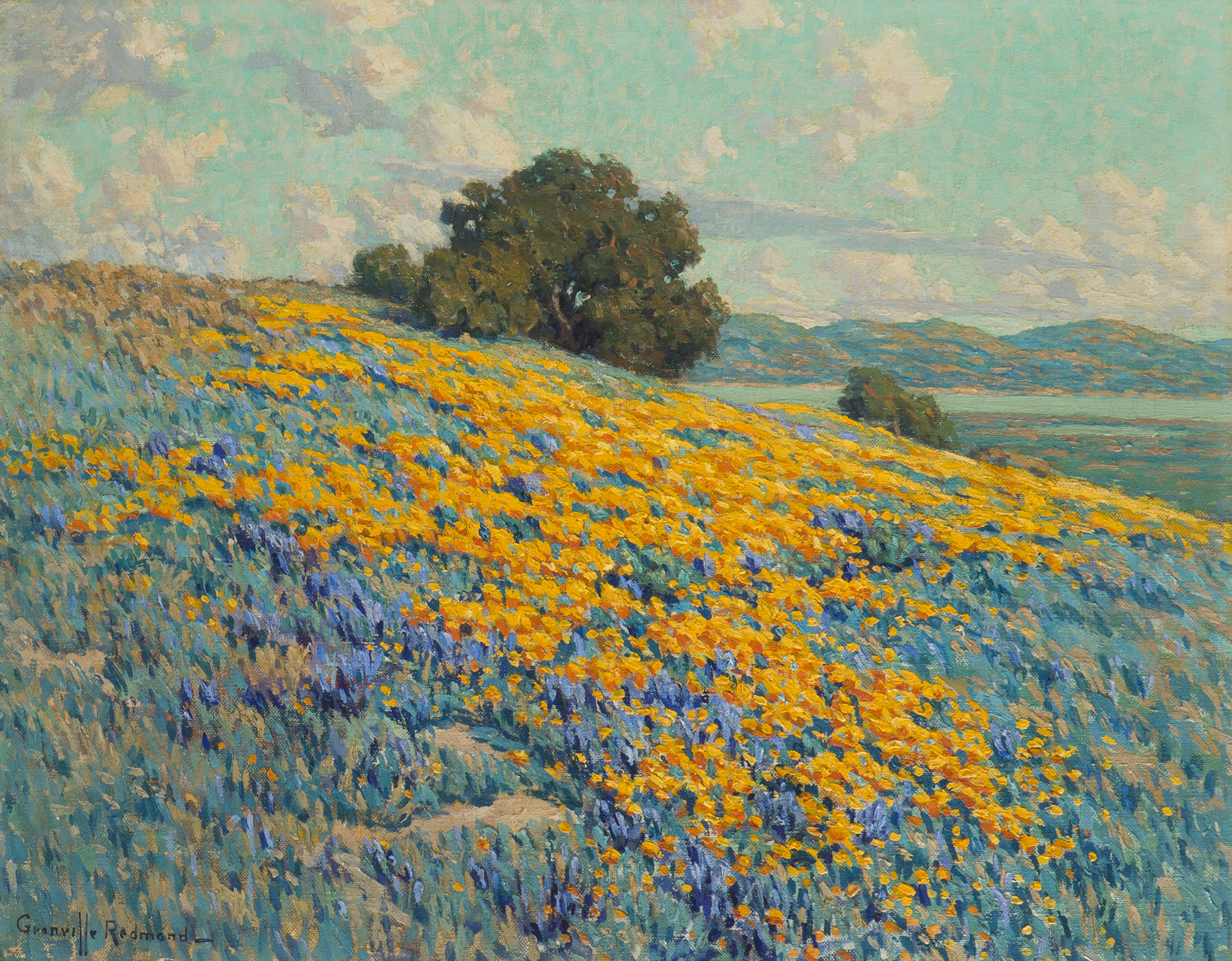 Granville Redmond (1871-1935 Los Angeles, CA) California landscape - Poppies and Lupine, Oil on canvas, 20.5