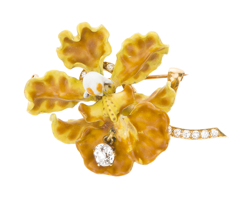 A Tiffany & Co. enamel and diamond orchid brooch