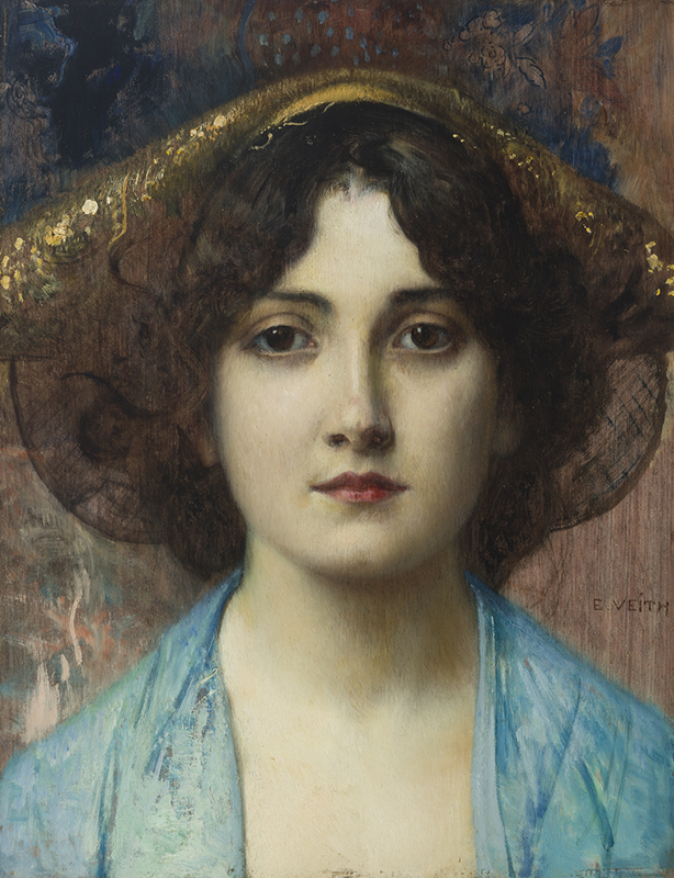 Eduard Veith (1856-1925 Austrian) Portrait of a woman in a hat $3,000-5,000