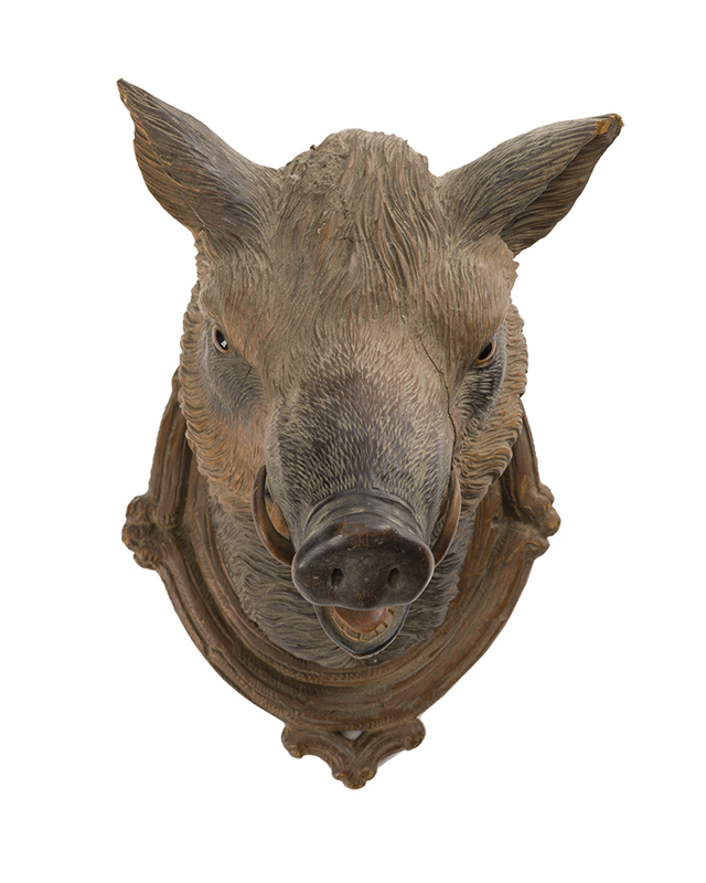 A Black Forest carved wood boars head