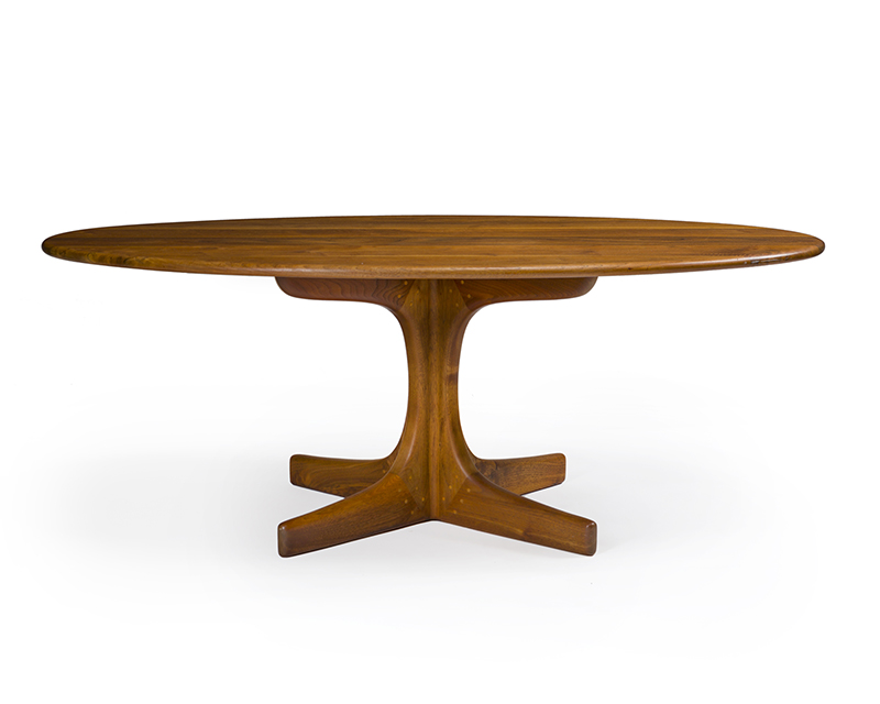 A Sam Maloof oval cocktail table No. 38