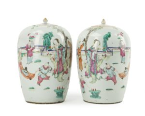 A pair of Chinese lidded ginger jars, price realized: $2,250