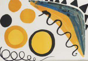 """Lot #2044, Alexander Calder (1898-1976 American) """"Cinq Boules Et Deux Serpents,"""" 1965, color lithograph on paper, price realized: $1,250"""