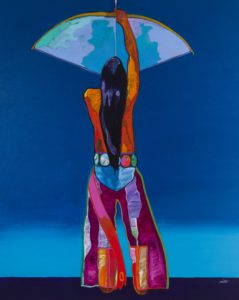 Lot 116, John Nieto (b. 1936 Corrales, NM) Cosmic Aspirations, 1993, acrylic on canvas, price realized: $28,750, a new auction record