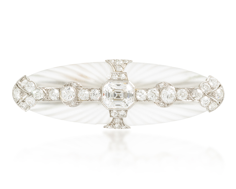 An Art Deco diamond and rock crystal brooch