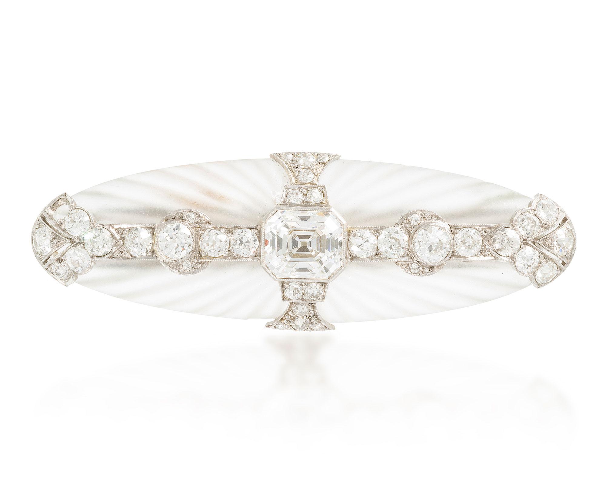 An Art Deco diamond and rock crystal brooch $30,000-50,000