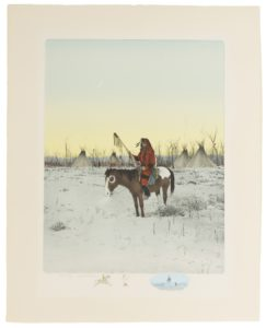 "Lot 385, Michael Coleman (b. 1946 Provo, UT), Crow warrior on horseback in a winter landscape, Lithograph on paper under glass, Image: 17"" H x 13"" W, est: $800-1,200"