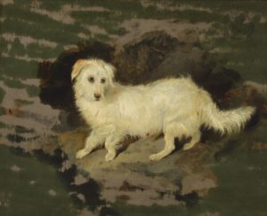 "Lot 65, Sir Edwin Henry Landseer (1802-1873 British), Skye, Oil on panel, 12"" H x 15"" W, est: $10,00-15,000"