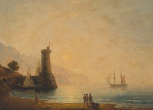 "Lot 132, Ivan Konstantinovich Aivazovsky (1817-1900 Crimean), Sunset in Feodosia, Oil on canvas laid to canvas, 15"" H x 20.5"" W, est: $60,000-80,000"