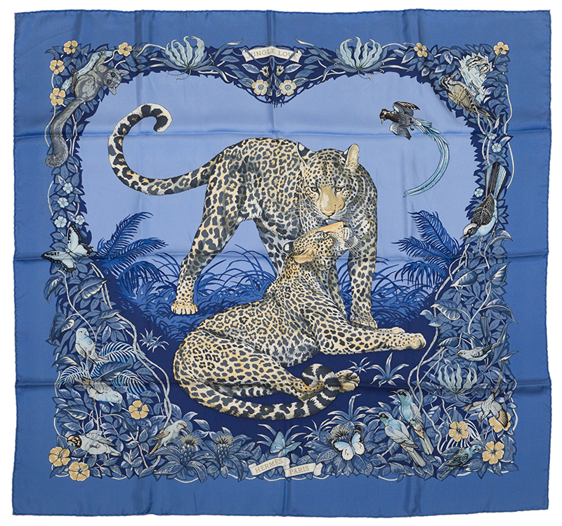 "A blue Hermès ""Jungle Love"" silk scarf"