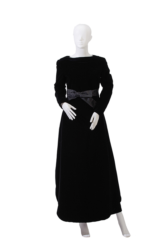 A Pierre Cardin black velvet evening dress