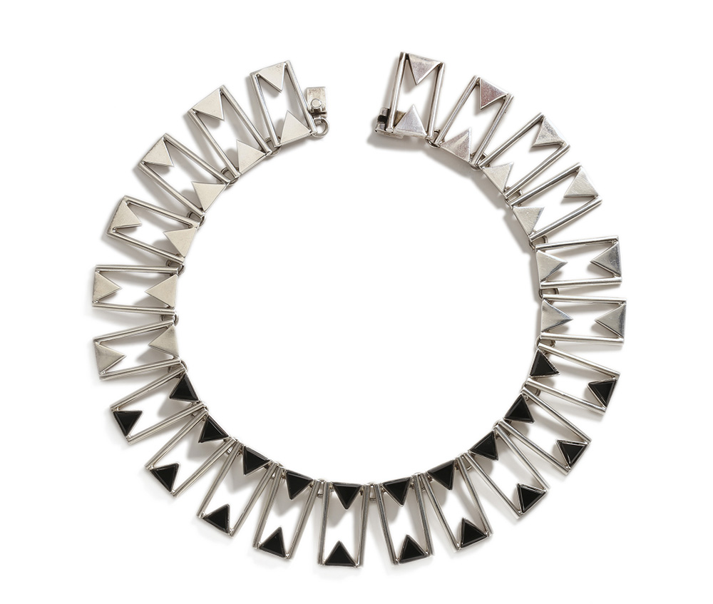 An Antonio Pineda silver and onyx collar necklace