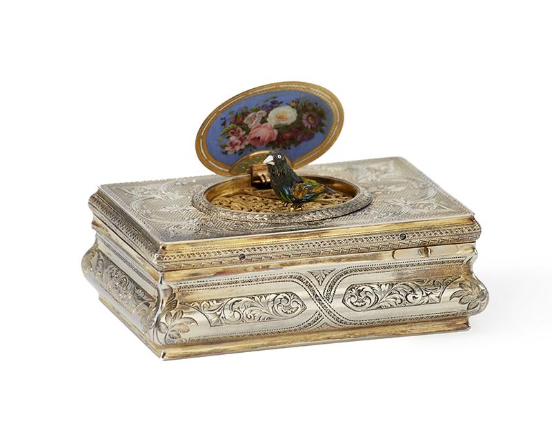 A Charles Bruguier vermeil and enamel fusée bird music box