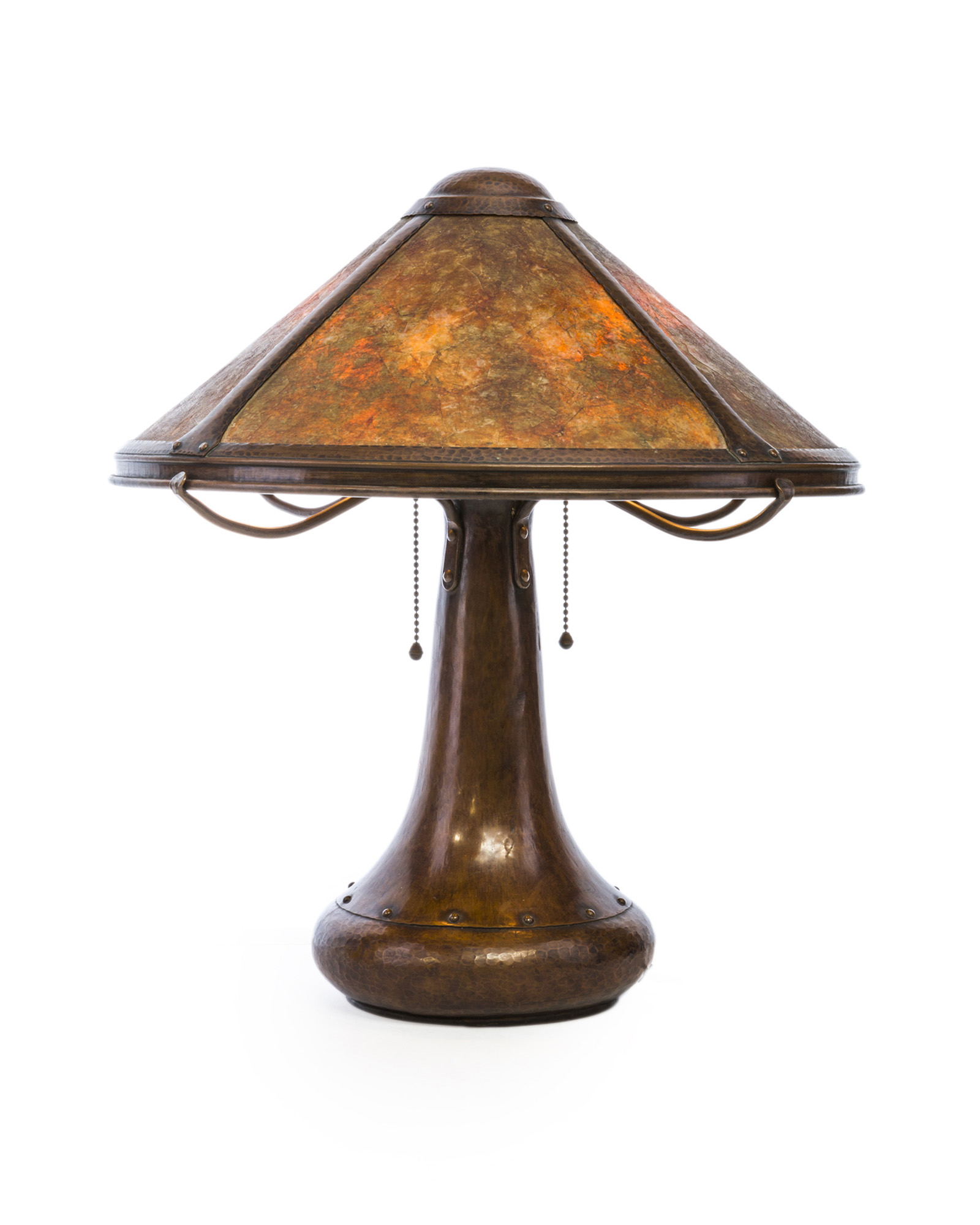 A Dirk Van Erp, hammered copper and mica table lamp