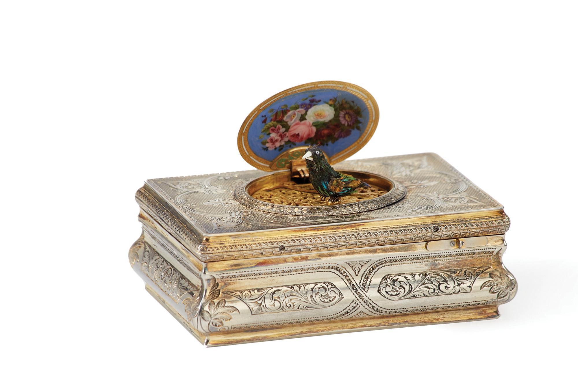 A Charles Bruguier vermeil and enamel fusée bird music box $10,000-15,000
