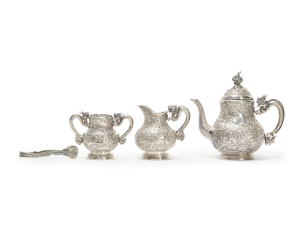 A Chinese boxed silver tea set