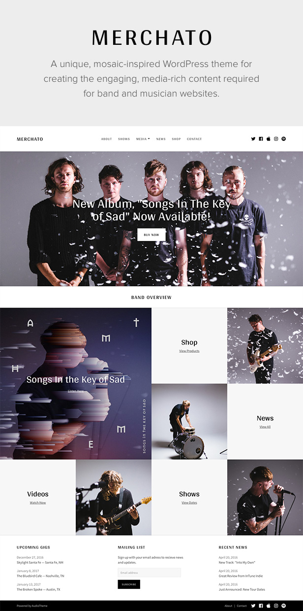 Merchato Music and Band WordPress Theme