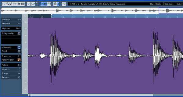 Audio Warping in the Cubase 4 Sample Editor