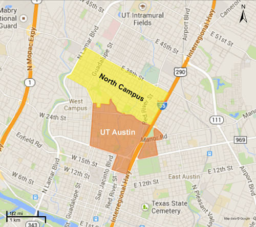 North campus and ut austin map