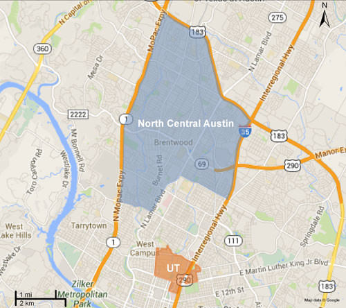 North central austin and ut map