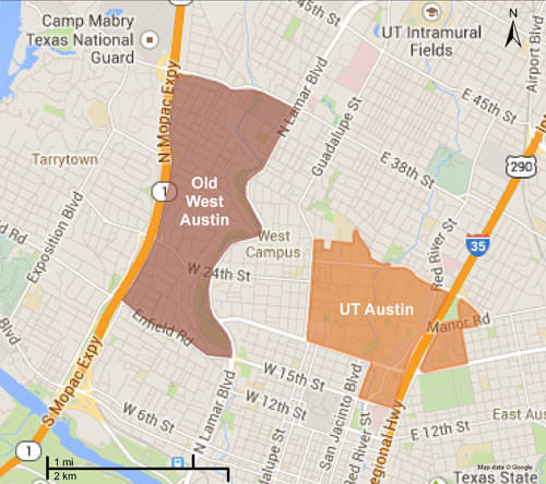 Old west austin and ut map
