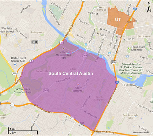 South central austin and ut map