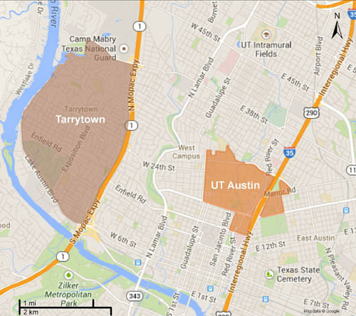 Tarrytown and ut austin map