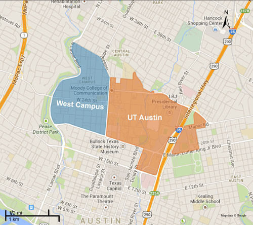 West campus and ut austin map