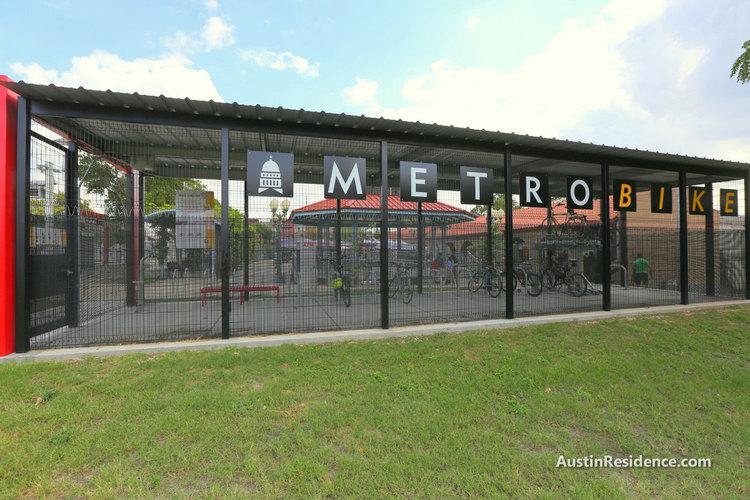 East Austin MetroBike Shelter Plaza Saltillo Station