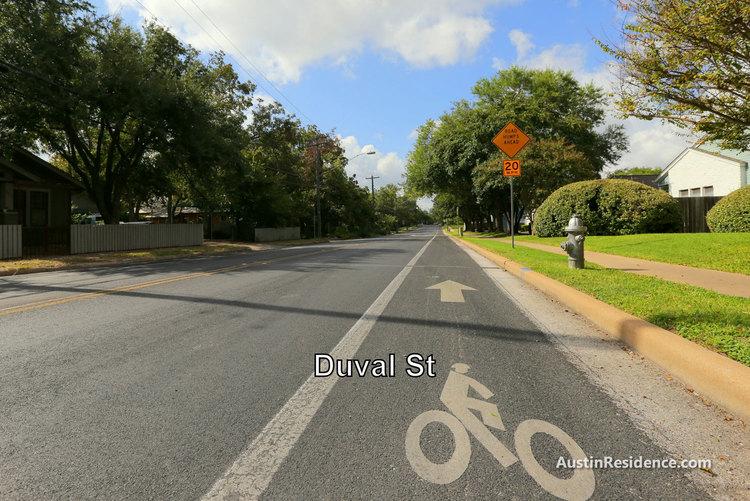 Hyde Park Duval St Bike Lane to UT