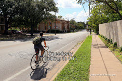 North Campus Speedway Biking to UT Austin