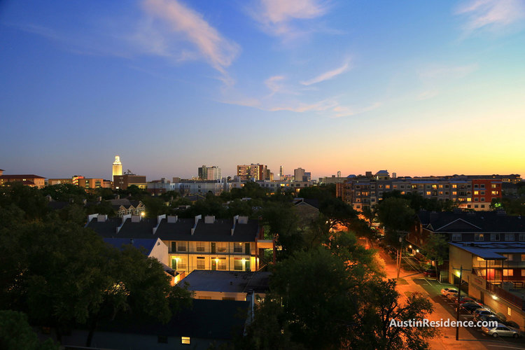 West Campus Apartments and UT Tower Sunset