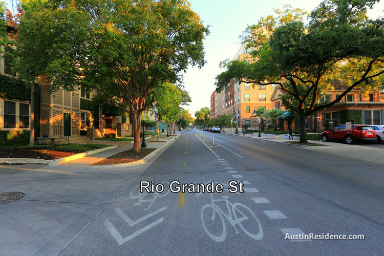 West Campus Rio Grande St Bike Lanes and Apartments
