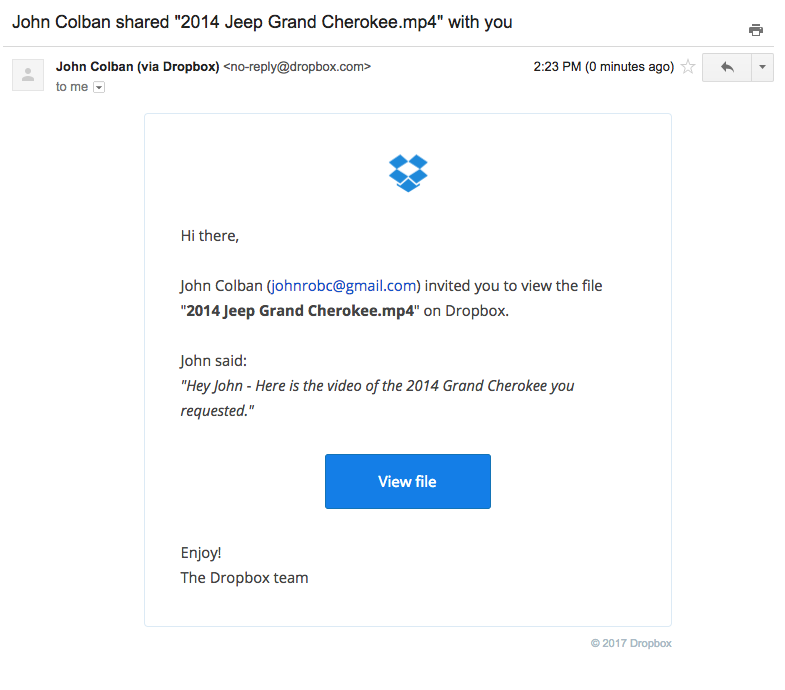 Dropbox Video Email